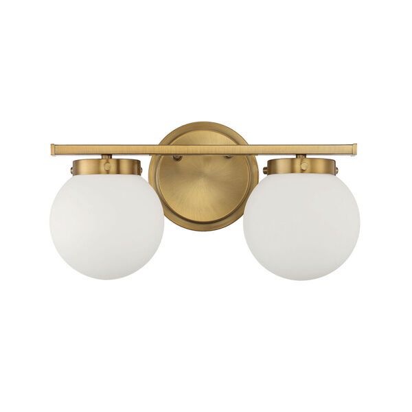 Cora Natural Brass Two-Light Bath Vanity with Opal Glass, image 2