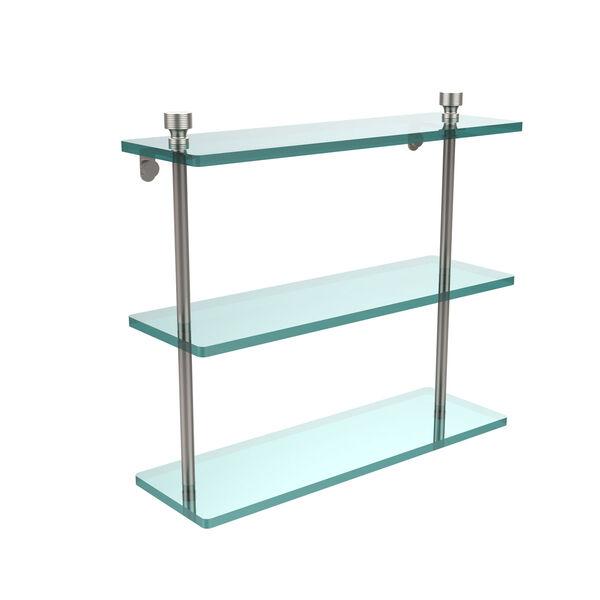 Satin Nickel Triple glass Shelf 16 Inch, image 1