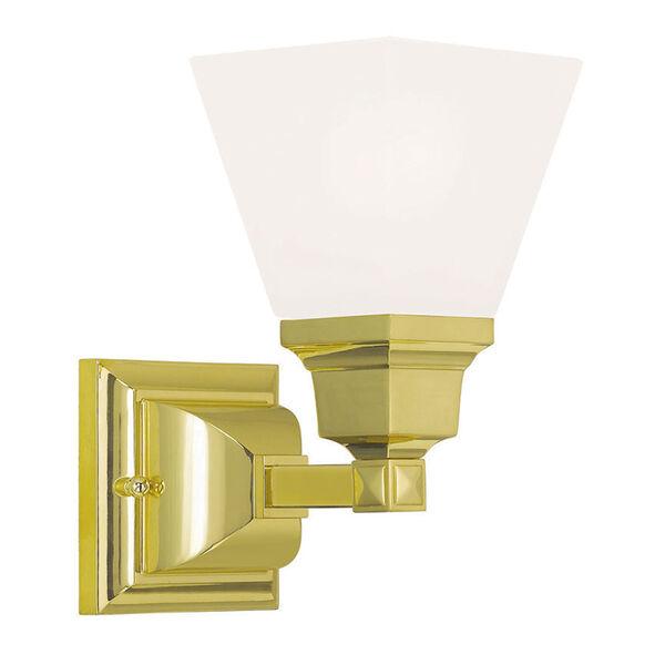 Mission Polished Brass 6-Inch One-Light Bath Light, image 1
