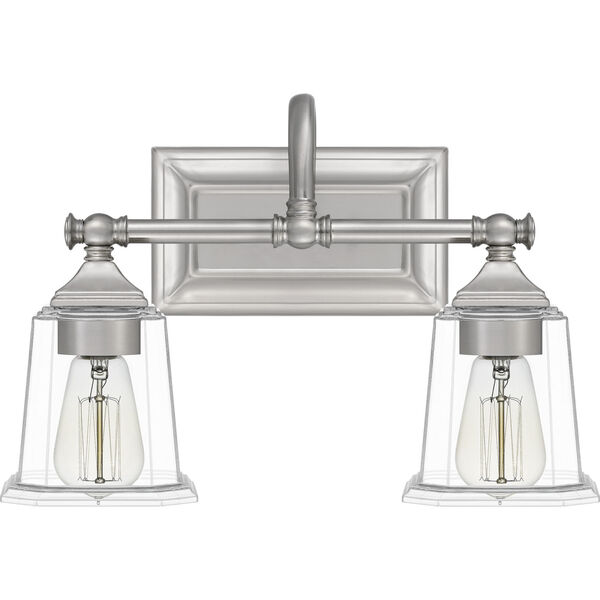 Nicholas Brushed Nickel Two-Light Bath Vanity with Transparent Glass, image 6