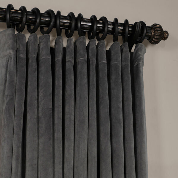 Natural Gray 120 x 100-Inch Doublewide Blackout Velvet Curtain, image 2