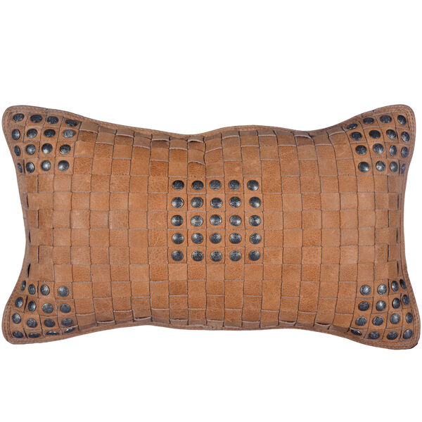 Tan 20 In. X 12 In. Basket Weave Leather Throw Pillow, image 1