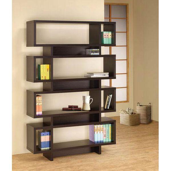 Cappuccino Contemporary Open Bookcase, image 1