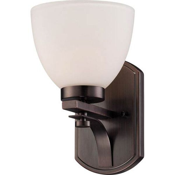Bentlley Hazel Bronze Finish One Light Vanity Fixture with Frosted Glass, image 1