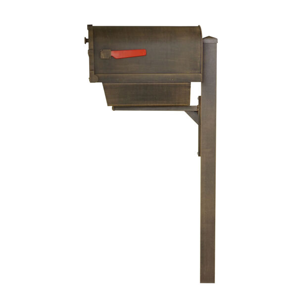 Savannah Curbside Copper Mailbox with Newspaper Tube and Wellington Mailbox Post, image 4