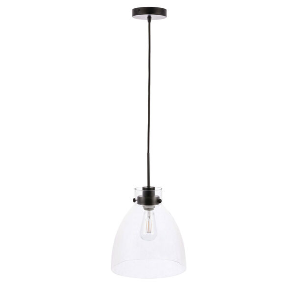 Frey Black 11-Inch One-Light Pendant with Clear Glass, image 5