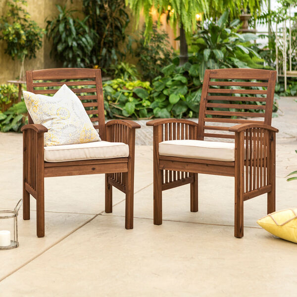 Dark Brown Acacia Patio Chairs with Cushions (Set of 2), image 1