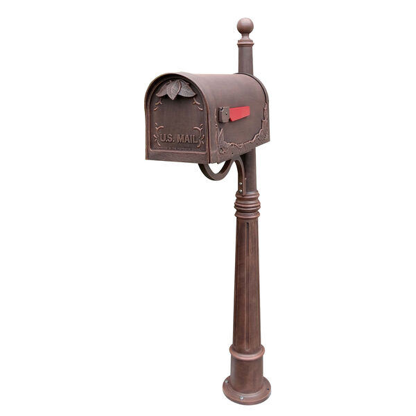 Floral Curbside Copper Mailbox with Ashland Mailbox Post Unit - (Open Box), image 1