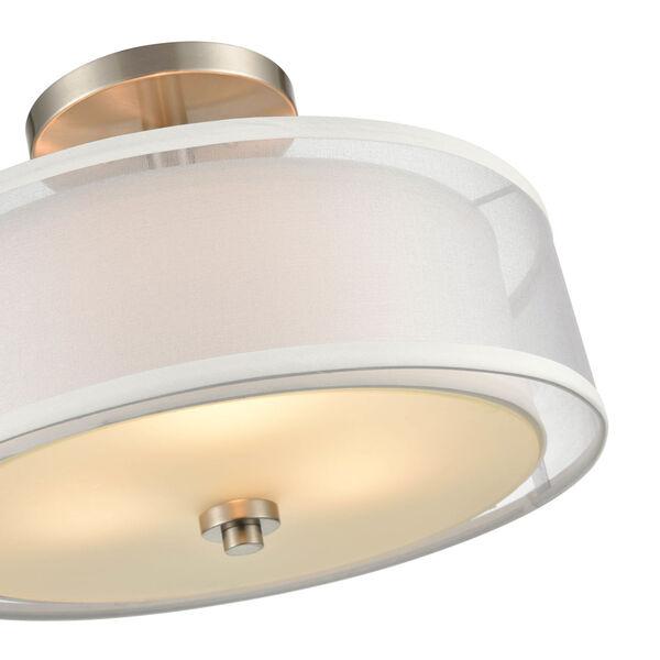 Madison Brushed Nickel 15-Inch Three-Light Semi Flushmount, image 3