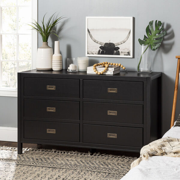 Lydia Black Dresser with Six Drawer, image 3