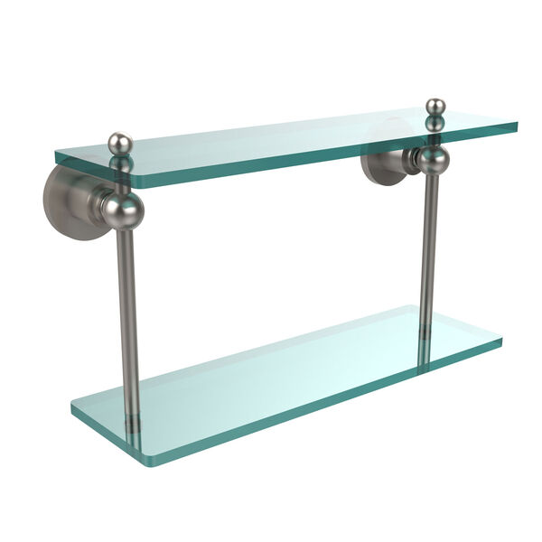 Satin Nickel 16-Inch Double Glass Shelf , image 1