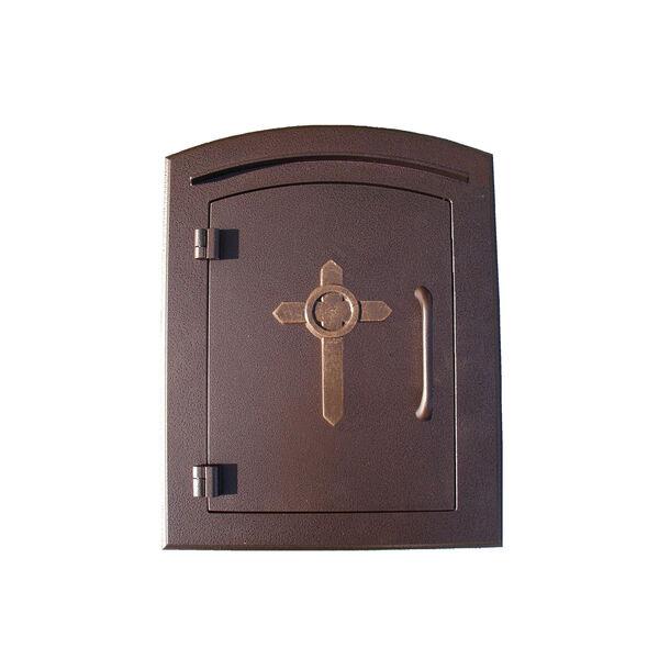 Manchester Antique Copper Non-Locking Decorative Cross Logo Door Column Mount Mailbox - (Open Box), image 1