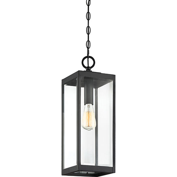 Pax Black One-Light Outdoor Pendant with Beveled Glass, image 3