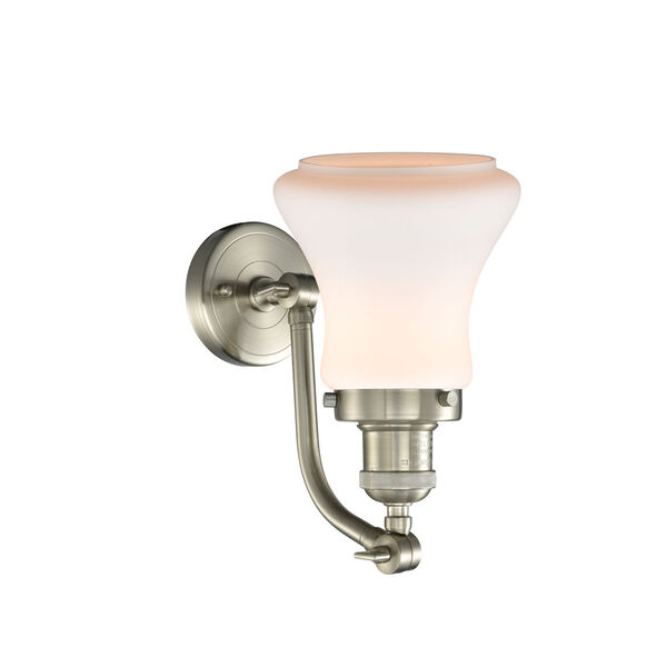 Franklin Restoration Brushed Satin Nickel 12-Inch LED Wall Sconce with Matte White Bellmont Shade, image 2