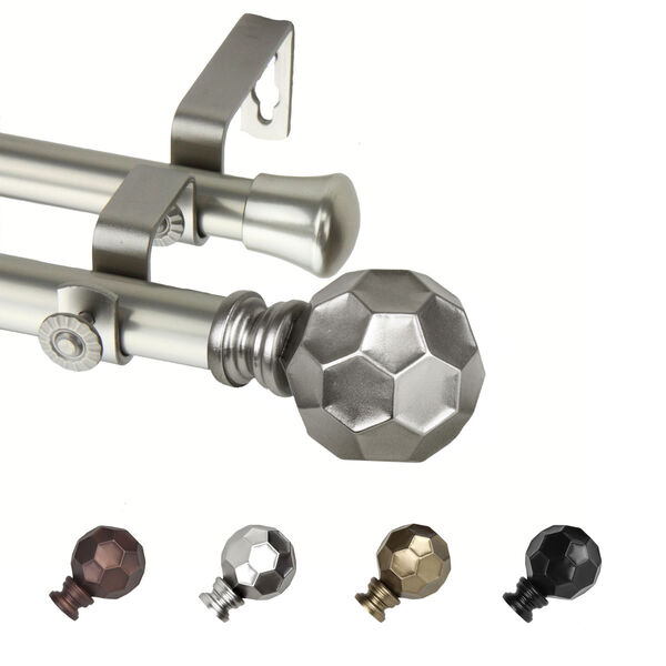 Christiano Satin Nickel 170-Inch Double Curtain Rod, image 1