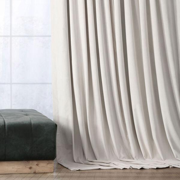 Porcelain White Blackout Velvet Pole Pocket Single Panel Curtain, 50 X 108, image 2
