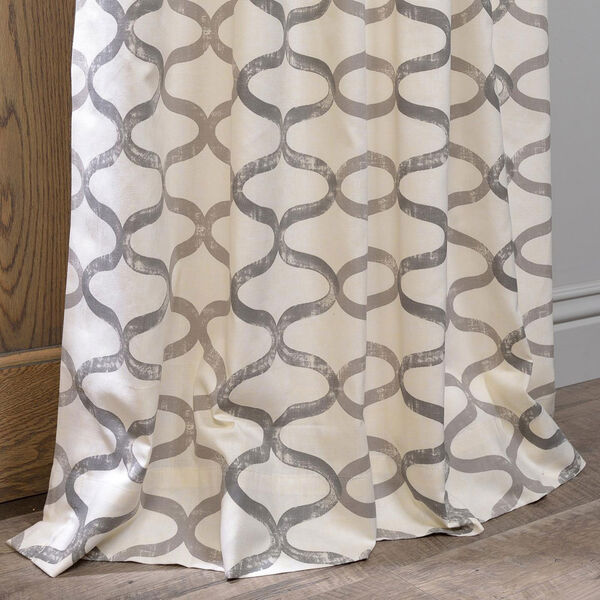 Illusions Silver Grey Printed Cotton Curtain Sample Swatch, image 5