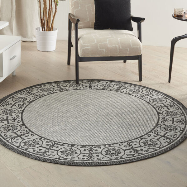 Garden Party Gray and Charcoal 5 Ft. 3 In. x 5 Ft. 3 In. Round Indoor/Outdoor Area Rug, image 1