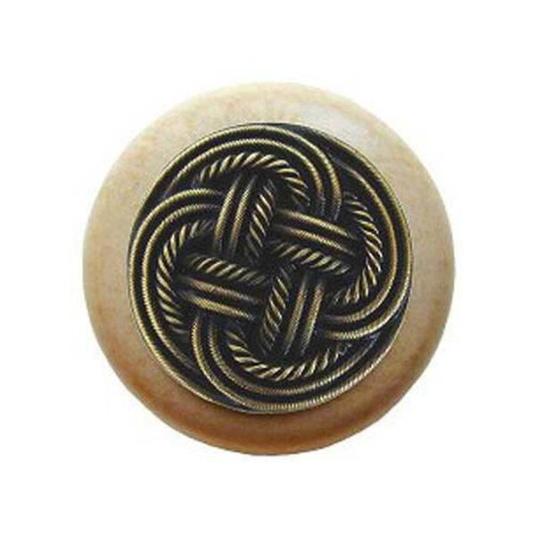 Natural Wood Classic Weave Knob with Antique Brass, image 1