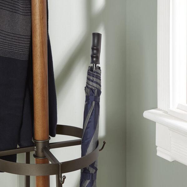 Gunmetal Metal and Wood Coat Rack with Umbrella Stand, image 3