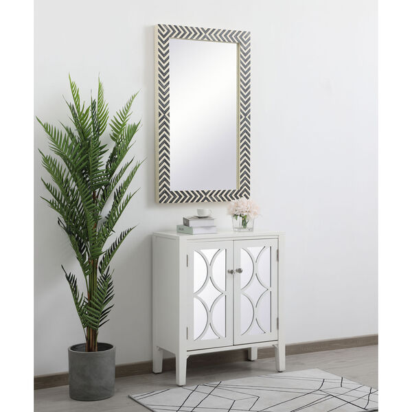 Colette Chevron 24 x 40 Inches Glass and Wood Rectangular Mirror, image 4