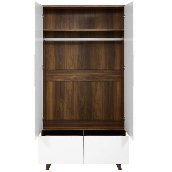 Uptown Walnut White Wood Wardrobe Cabinet, image 5