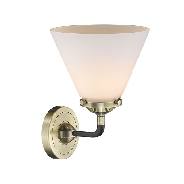 Nouveau Black Antique Brass Eight-Inch One-Light Wall Sconce with Matte White Cased Large Cone Shade, image 2