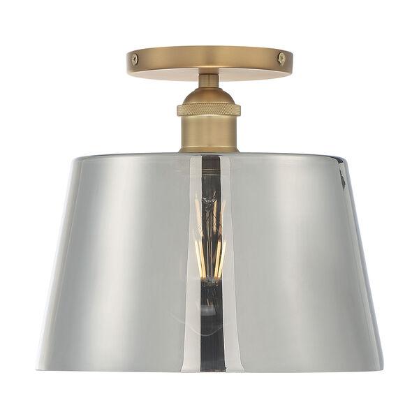Motif Brushed Brass and Smoked Glass 10-Inch One-Light Semi-Flush Mount, image 3