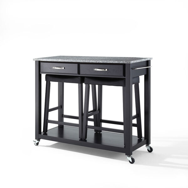 Solid Granite Top Kitchen Cart/Island in Black Finish With 24-Inch Black Upholstered Saddle Stools, image 2