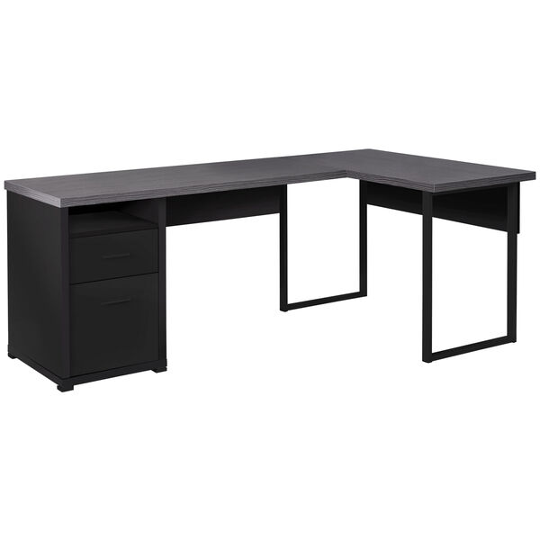 Black and Gray 47-Inch Computer Desk with Side Drawers, image 1