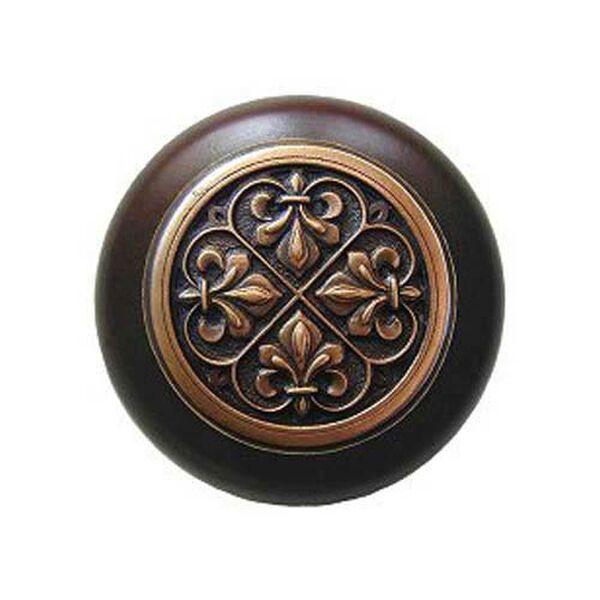 Dark Walnut Wood Fleur-de-Lis Knob with Antique Copper, image 1