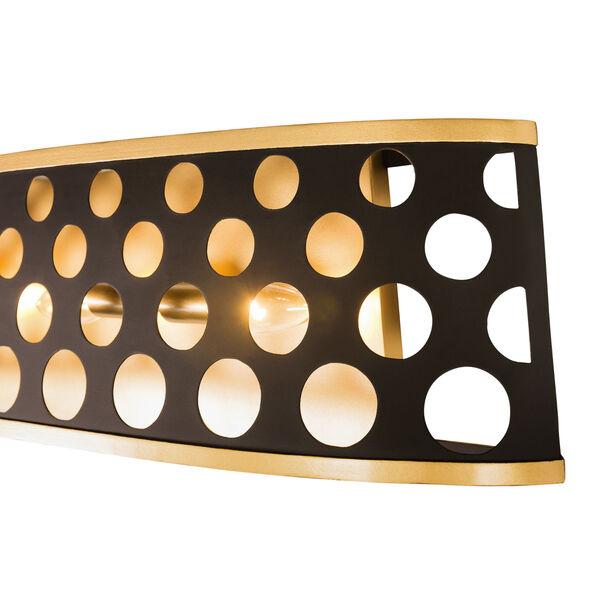 Bailey Matte Black French Gold Four-Light Bath Vanity, image 3