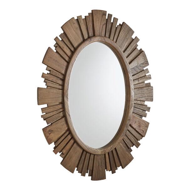 Brigid Reclaimed Wood Oval Sunburst Wall Mirror, image 4