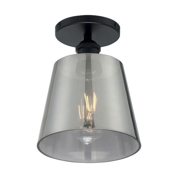 Motif Black and Smoked Glass Seven-Inch One-Light Semi-Flush Mount, image 1