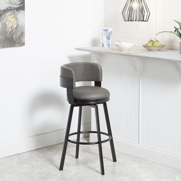 William Charcoal and Dark Rubbed Bronze Upholstered Swivel Barstool, image 1