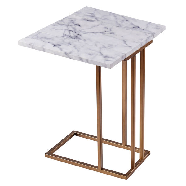 Marmo Faux Marble and Brass C Shape Extension Table with Faux Marble Top, image 1