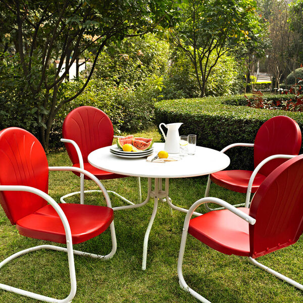 Griffith Metal 40-Inch Five Piece Outdoor Dining Set: 40-Inch Dining Table in White Finish with Red Finish Chairs, image 1