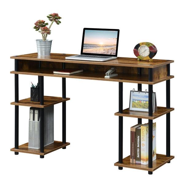 Designs2Go Barnwood Black No Tools Student Desk with Shelves, image 3