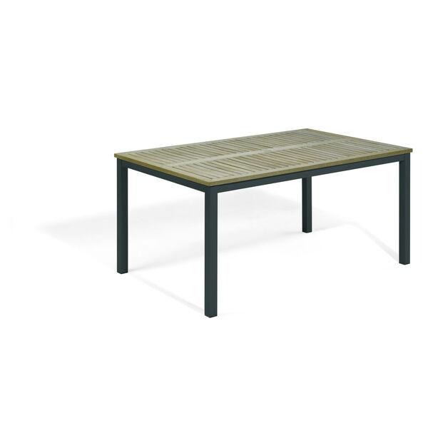 Travira Vintage Tekwood Top and Carbon Powder Coated Aluminum Frame 63-Inch Rectangular Dining Table, image 1