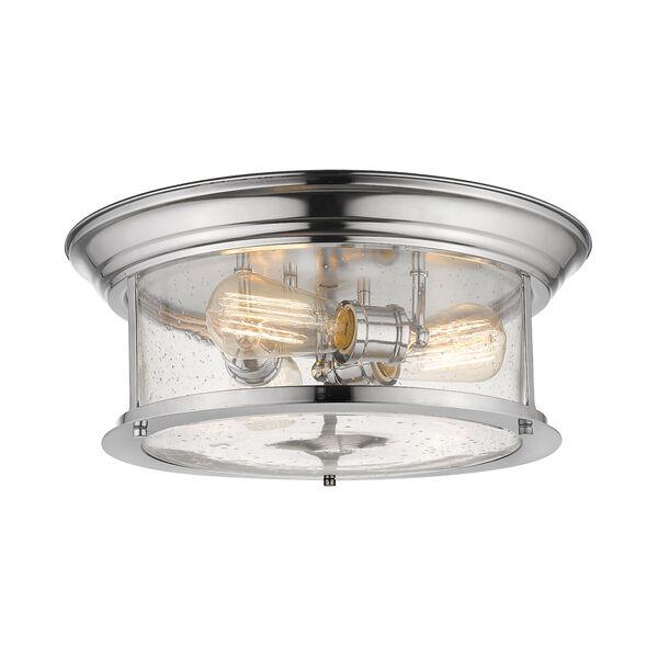 Sonna Chrome Three-Light Flush Mount with Transparent Seedy Glass, image 1