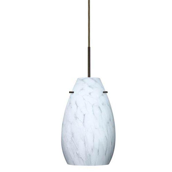 Pera 9 Bronze One-Light LED Mini Pendant with Carrera Glass, Flat Canopy, image 1