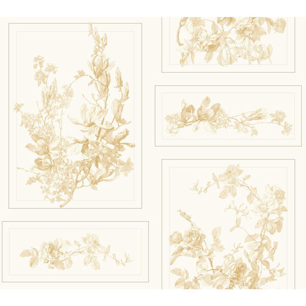 The Magnolia Brown and White Removable Wallpaper- SAMPLE SWATCH ONLY, image 1