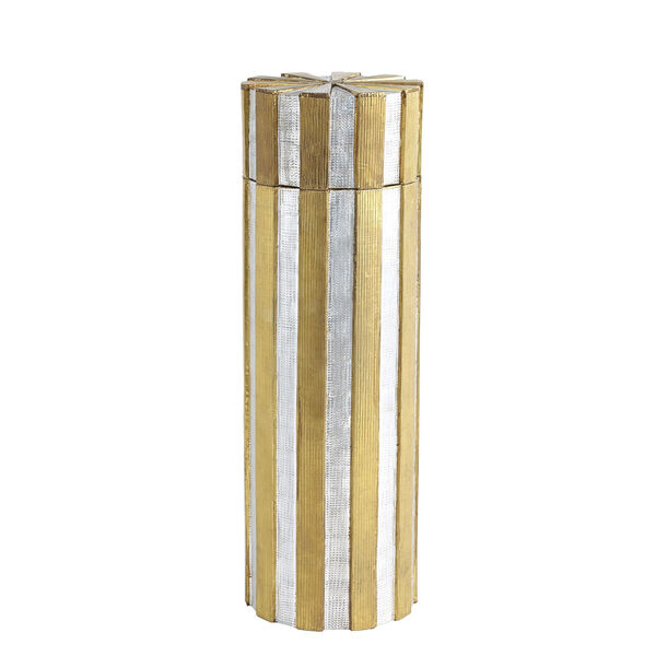 Nickel and Brass 6-Inch Metal Vertical Stripe Box, image 2