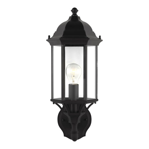 Sevier Black One-Light Outdoor Uplight Wall Sconce with Clear Shade, image 1