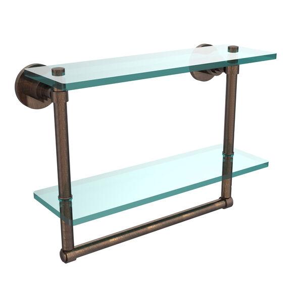 Washington Square Venetian Bronze 16 Inch Double Glass Shelf with Towel Bar, image 1