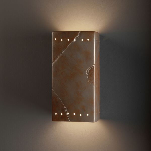 Ambiance Tierra Red Slate Seve-Inch Closed Top and Bottom GU24 LED Rectangle Outdoor Wall Sconce, image 2