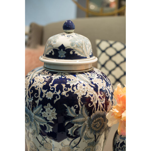 Bryn Blue, Gold And White Ginger Jar, image 4