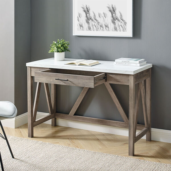 A-Frame Faux White Marble and Grey Wash 46-Inch Computer Desk with Drawer, image 2