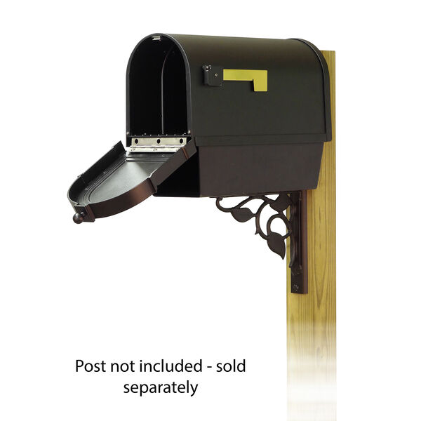 Curbside Black Berkshire Mailbox with Newspaper Tube and Floral Front Single Mounting Bracket, image 2
