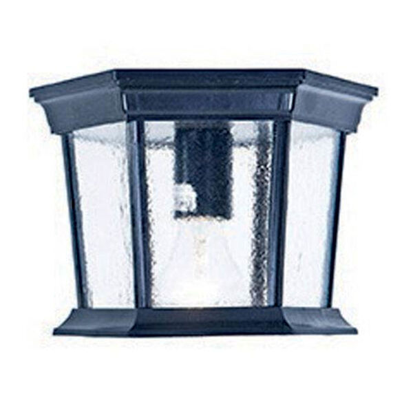 Dover Matte Black One-Light Outdoor Ceiling Mount with Clear Beveled Glass, image 1